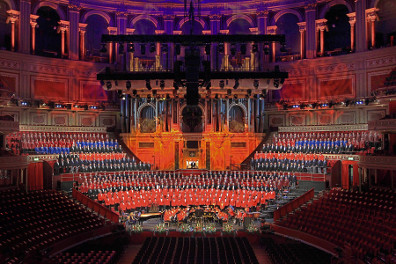 The full massed choir at the Royal Albert Hall rehearsal October 2012